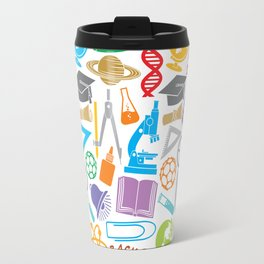 education and school icons background (seamless pattern) Travel Mug
