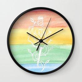Rainbow Rose and Dagger Wall Clock