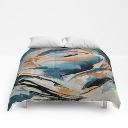 Drift 6: a bold mixed media piece in blues, brown, pink and red Comforters