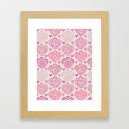 Pink Heart Valentine's Doilies Pattern Framed Art Print