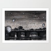 lanterns Art Prints featuring Lanterns by Katie Bennett