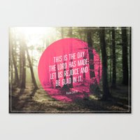 bible verses Canvas Prints featuring Typographic Motivational Bible Verses - Psalm 118:24 by The Wooden Tree
