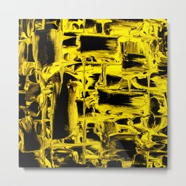 Yellow Abstract Paint Strikes and Lines on Black Canvas Metal Print