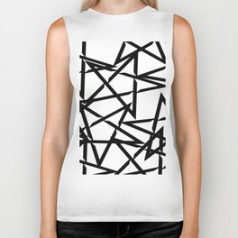 Interlocking Black Star Polygon Shape Design Biker Tank