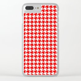 Scarlet Houndstooth Clear iPhone Case