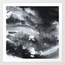 Abstract Ink, black and white watercolor Art Print