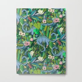 Improbable Botanical with Dinosaurs - dark green Metal Print