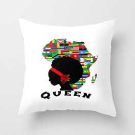 African Queen Afro Diva Throw Pillow