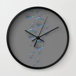 IRIDESCENT SOAP BUBBLES GREY COLOR DESIGN Wall Clock
