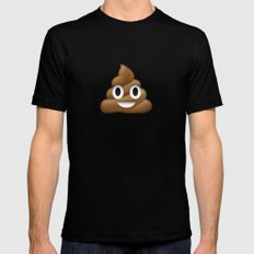Smiling Poo Emoji (Colored Background) Mens Fitted Tee MEDIUM Black