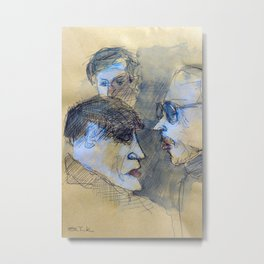 Sketch of three men in a coffee bar in Italy Metal Print