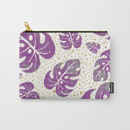purple leaves on dots Carry-All Pouch