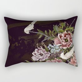 Peonies and Birds Glittery Temple Chinoiserie Rectangular Pillow