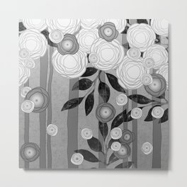 Black and White Flowers Design Metal Print
