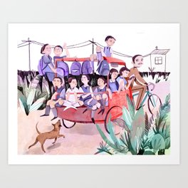 Rickshaw School Run Art Print