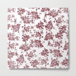 Elegant pastel pink marsala red roses floral pattern Metal Print