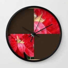Mottled Red Poinsettia 2 Blank Q3F0 Wall Clock