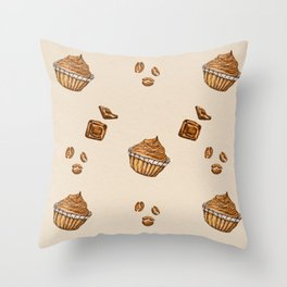 watercolor coffee beans , cupcakes and chocolate Throw Pillow