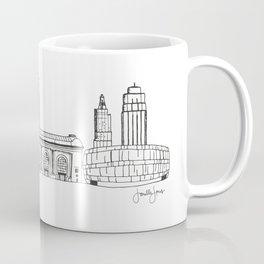 Kansas City Skyline Illustration Black Line Art Coffee Mug