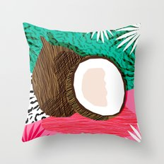 Bada Bing - memphis throwback tropical coconuts food vegan nature abstract illo neon 1980s 80s style Throw Pillow