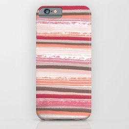 Liquorice- pale pink and white stripes iPhone Case