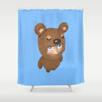 furry Shower Curtains featuring Furry baby by Metin Seven