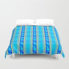 Blue Hibiscus Honu Stripes Duvet Cover