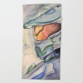 Halo gaming watercolor design Beach Towel