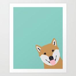 Shiba Inu Peek - cute shiba doge peeking funny dog art print mint turquoise customizable dog gift Art Print