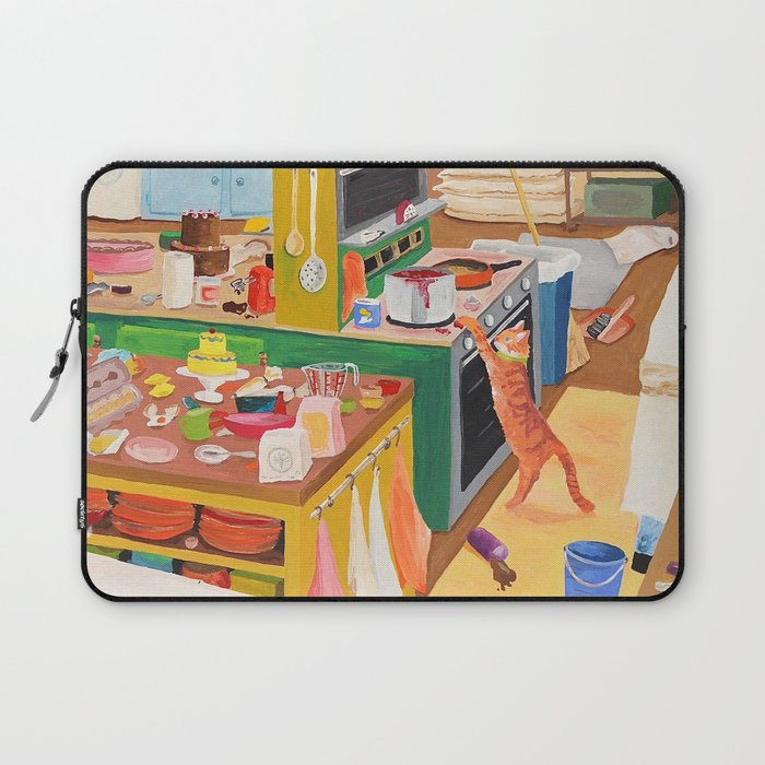 A Cat In The Kitchen Laptop Sleeve By Dasbrooklyn