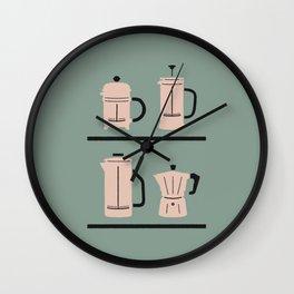 Volturno & French Press Coffee #4 opaque aqua & vintage pink Wall Clock