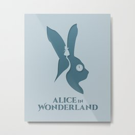 Alice in Wonderland Minimalistic Metal Print