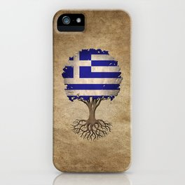 Vintage Tree of Life with Flag of Greece iPhone Case