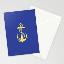 Modern royal blue sunshine yellow nautical anchor Stationery Cards