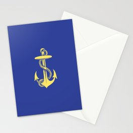 Modern royal blue sunshine yellow nautical anchor Stationery Cards