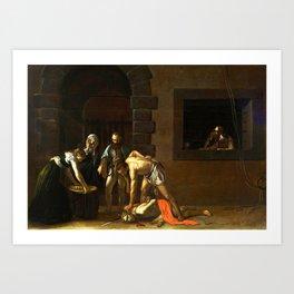 The Beheading of St John the Baptist by Caravaggio (1608) Art Print