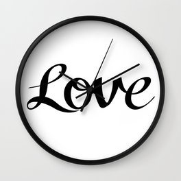 Love Cursive Script Black Wall Clock