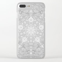 Baroque Garden, White on Blue, Watercolor Ornate Pattern Clear iPhone Case