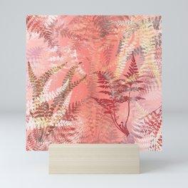 Elegant Coral Gold Fern Leaves Abstract Pattern Mini Art Print