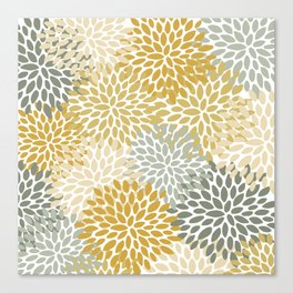 Floral Pattern, Decorative, Mustard Yellow, Gold, Gray Canvas Print