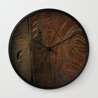 leather Wall Clocks featuring Aged Leather by Dorothy Pinder