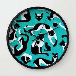 Playful Cats Retro Pattern Wall Clock