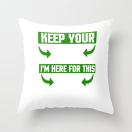 Keep Your Kiss Beer Festival Lacrosse Clover Leprechaun Irish Gift Throw Pillow