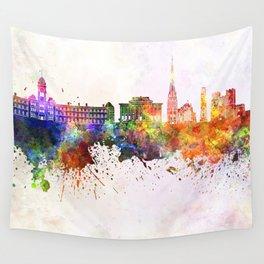 Preston skyline in watercolor background Wall Tapestry