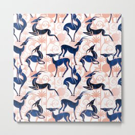 Deco Gazelles Garden // white background navy animals and rose metal textured decorative elements Metal Print