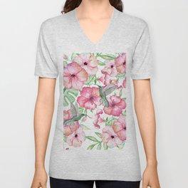 Hibiscus + Hummingbirds Pink Unisex V-Neck