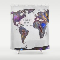 never stop exploring Shower Curtains featuring Star map. Never stop exploring... by Guido Montañés