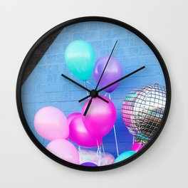 Colorful Balloons on Blue Wall Clock