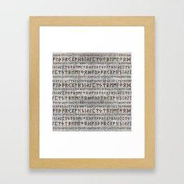 Elder Futhark Pattern on birch texture Framed Art Print
