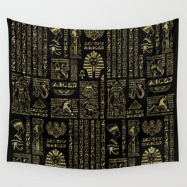 Egyptian hieroglyphs and deities gold on black Wall Tapestry